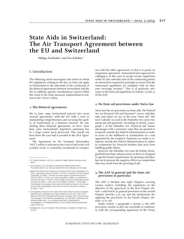 Estal European State Aid Law Quarterly State Aids In Switzerland